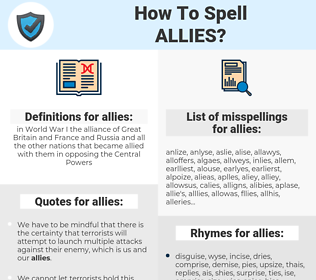 allies, spellcheck allies, how to spell allies, how do you spell allies, correct spelling for allies