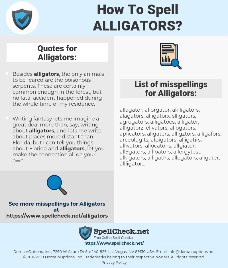 How To Spell Alligators (And How To Misspell It Too