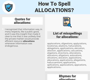allocations, spellcheck allocations, how to spell allocations, how do you spell allocations, correct spelling for allocations