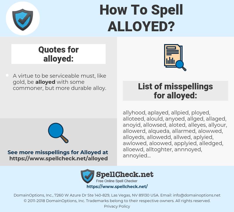 alloyed, spellcheck alloyed, how to spell alloyed, how do you spell alloyed, correct spelling for alloyed