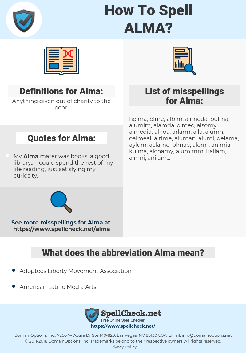 Almaemail how to spell alma (and how to misspell it too) | spellcheck