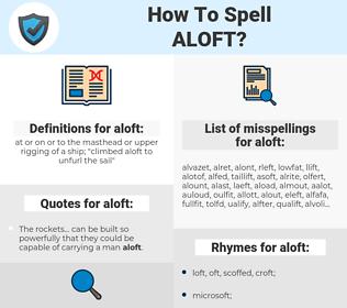 aloft, spellcheck aloft, how to spell aloft, how do you spell aloft, correct spelling for aloft
