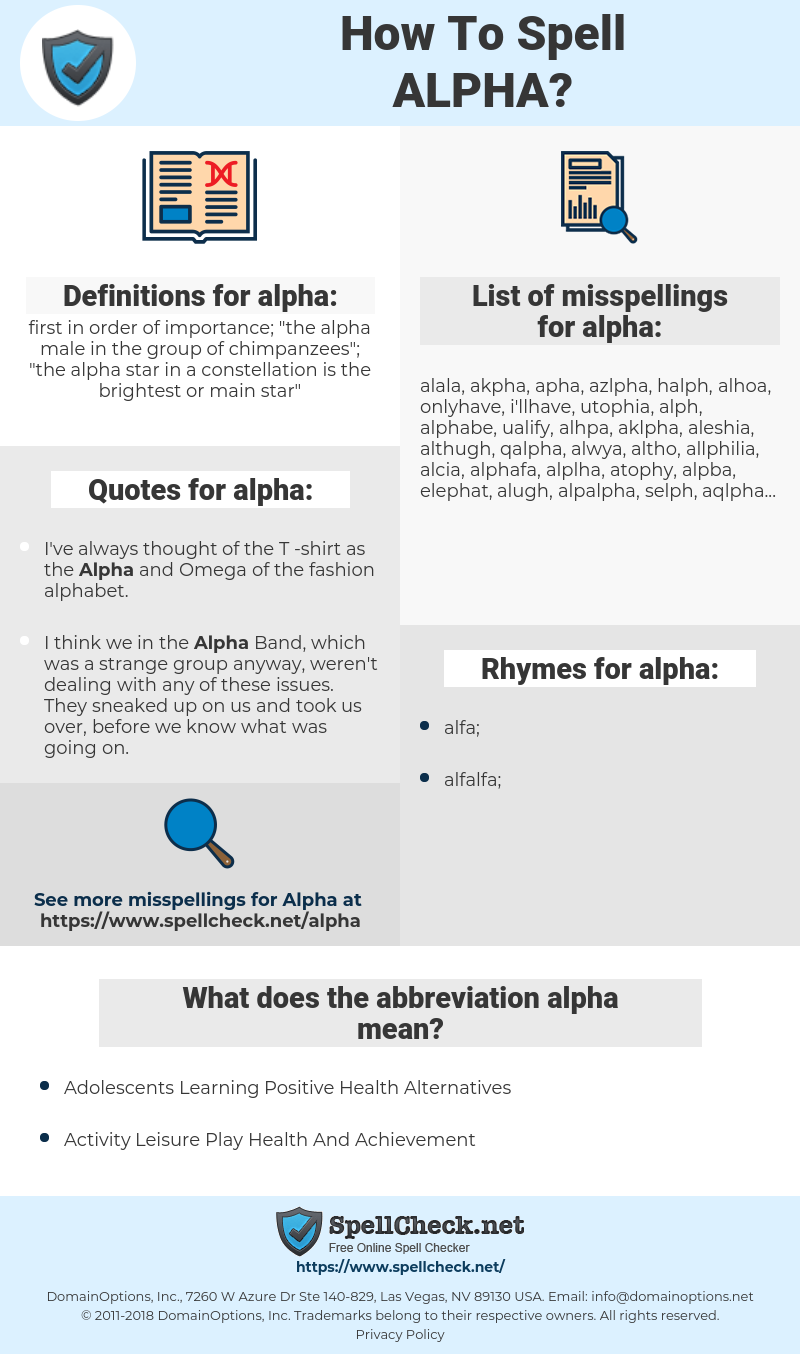alpha, spellcheck alpha, how to spell alpha, how do you spell alpha, correct spelling for alpha