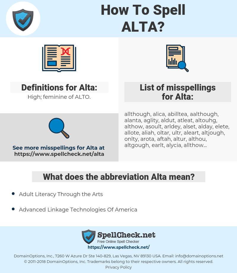 Alta, spellcheck Alta, how to spell Alta, how do you spell Alta, correct spelling for Alta