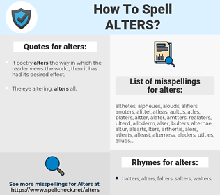 alters, spellcheck alters, how to spell alters, how do you spell alters, correct spelling for alters