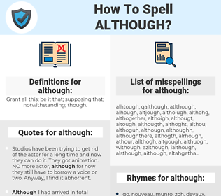 although, spellcheck although, how to spell although, how do you spell although, correct spelling for although