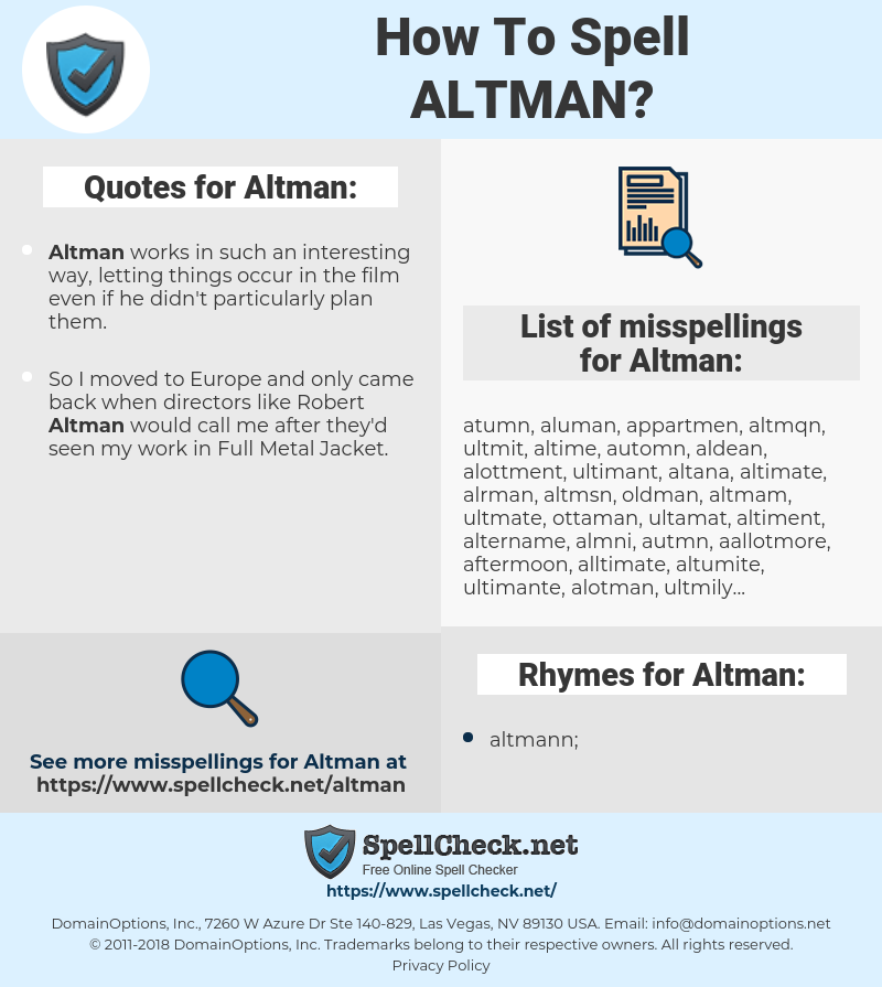 Altman, spellcheck Altman, how to spell Altman, how do you spell Altman, correct spelling for Altman