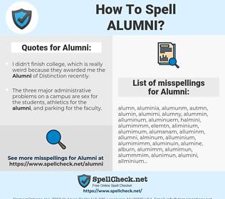 Alumni, spellcheck Alumni, how to spell Alumni, how do you spell Alumni, correct spelling for Alumni