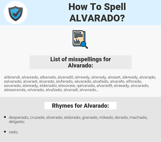Alvarado, spellcheck Alvarado, how to spell Alvarado, how do you spell Alvarado, correct spelling for Alvarado