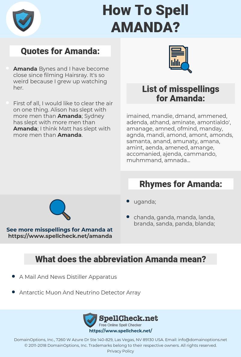 Amanda, spellcheck Amanda, how to spell Amanda, how do you spell Amanda, correct spelling for Amanda