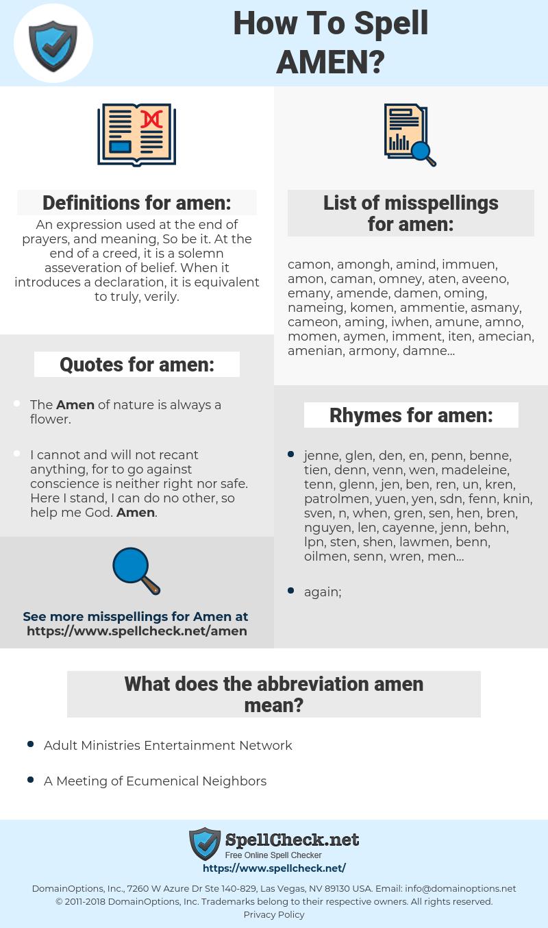 amen, spellcheck amen, how to spell amen, how do you spell amen, correct spelling for amen