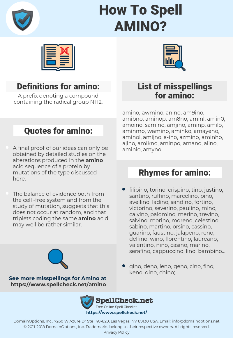 amino, spellcheck amino, how to spell amino, how do you spell amino, correct spelling for amino
