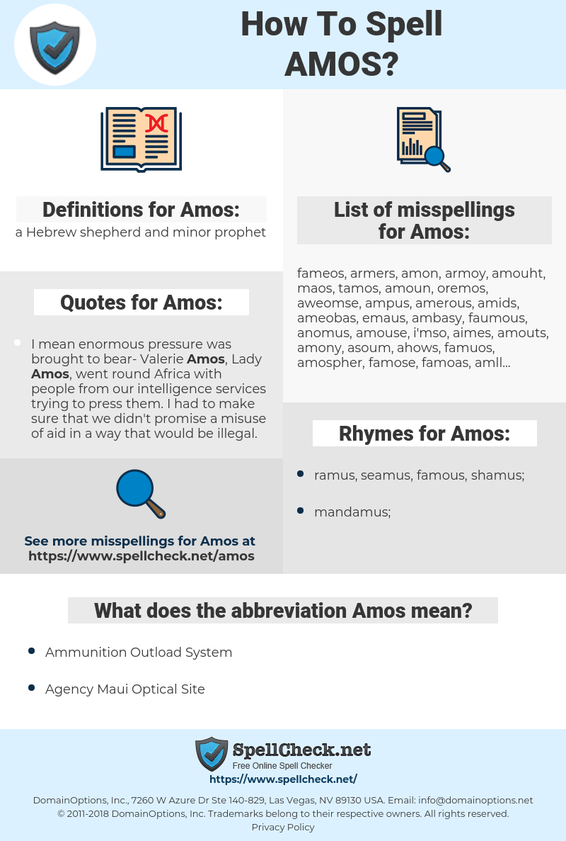 Amos, spellcheck Amos, how to spell Amos, how do you spell Amos, correct spelling for Amos