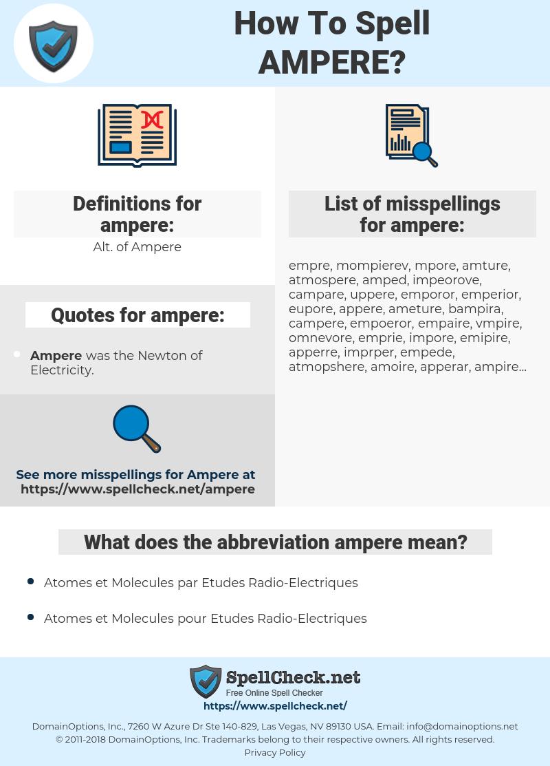 ampere, spellcheck ampere, how to spell ampere, how do you spell ampere, correct spelling for ampere