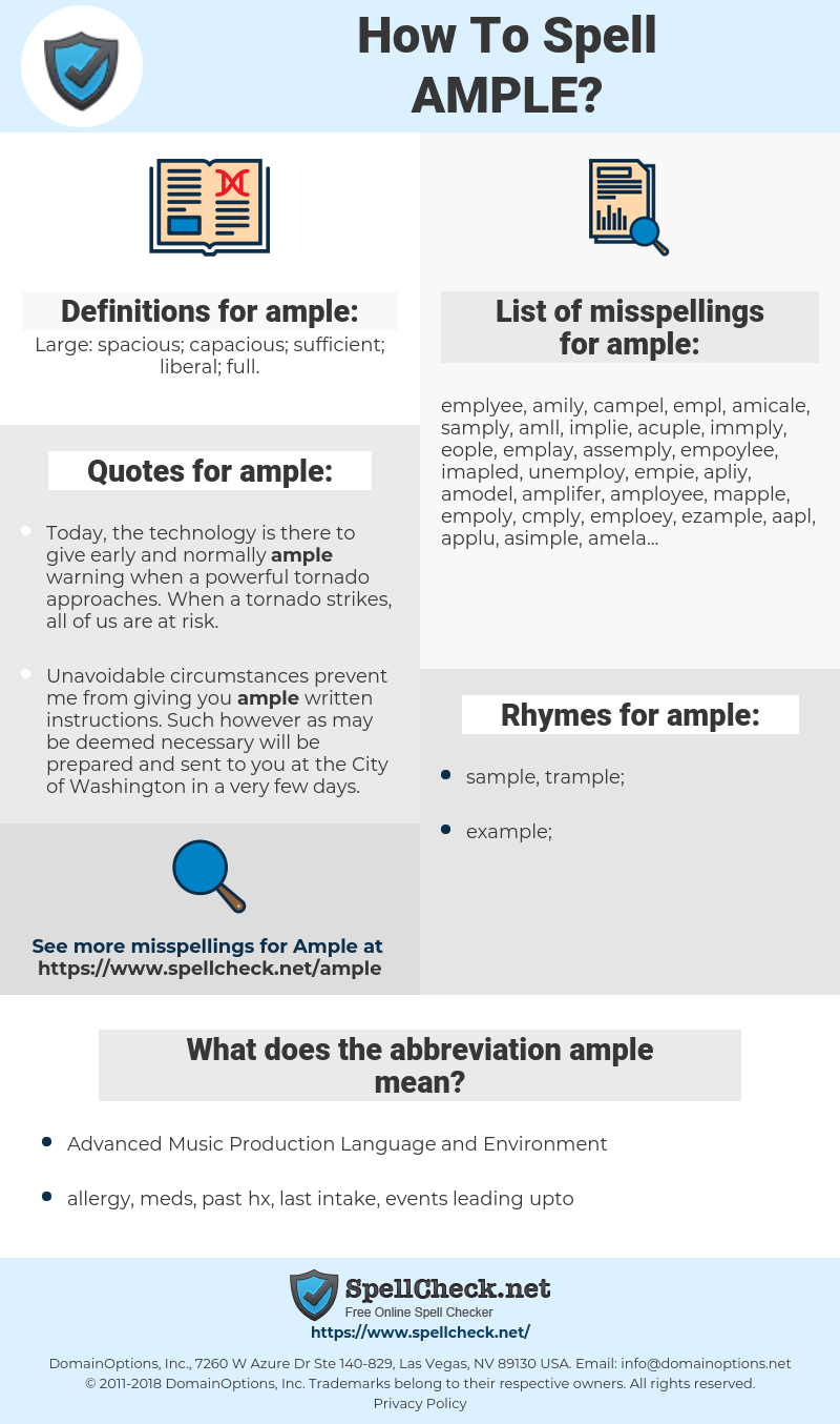 ample, spellcheck ample, how to spell ample, how do you spell ample, correct spelling for ample