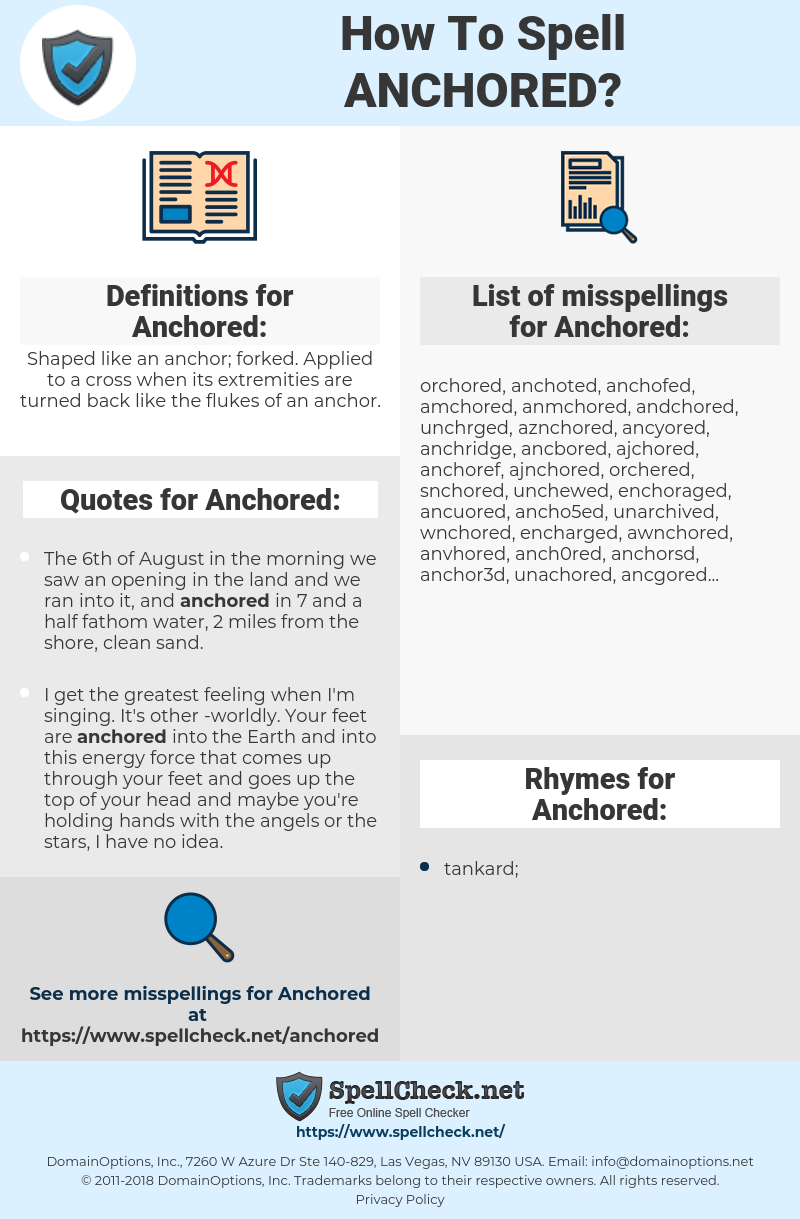 Anchored, spellcheck Anchored, how to spell Anchored, how do you spell Anchored, correct spelling for Anchored