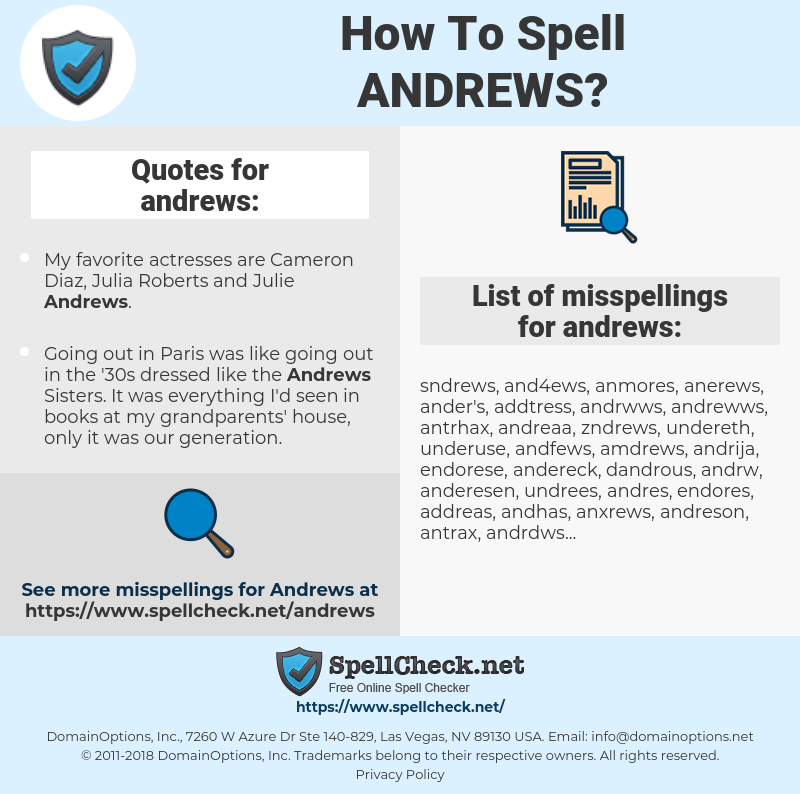andrews, spellcheck andrews, how to spell andrews, how do you spell andrews, correct spelling for andrews