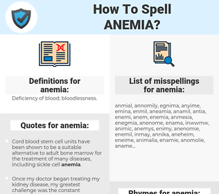 anemia, spellcheck anemia, how to spell anemia, how do you spell anemia, correct spelling for anemia