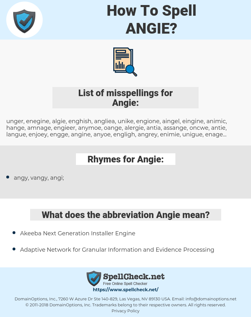 Angie, spellcheck Angie, how to spell Angie, how do you spell Angie, correct spelling for Angie