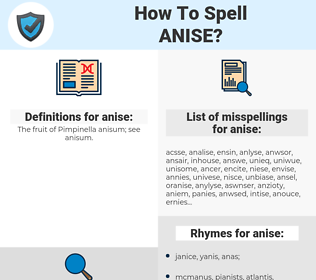 anise, spellcheck anise, how to spell anise, how do you spell anise, correct spelling for anise