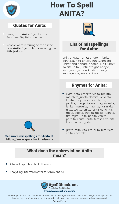 Anita, spellcheck Anita, how to spell Anita, how do you spell Anita, correct spelling for Anita