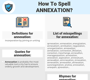 annexation, spellcheck annexation, how to spell annexation, how do you spell annexation, correct spelling for annexation