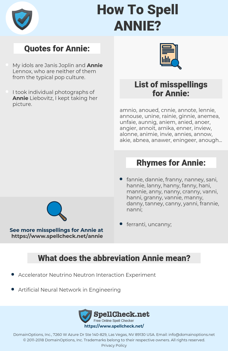Annie, spellcheck Annie, how to spell Annie, how do you spell Annie, correct spelling for Annie