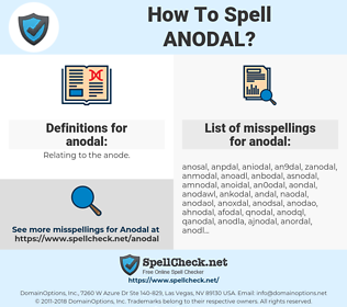 anodal, spellcheck anodal, how to spell anodal, how do you spell anodal, correct spelling for anodal