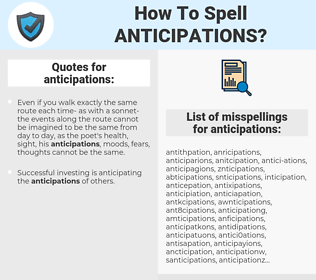 anticipations, spellcheck anticipations, how to spell anticipations, how do you spell anticipations, correct spelling for anticipations