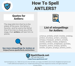 Antlers, spellcheck Antlers, how to spell Antlers, how do you spell Antlers, correct spelling for Antlers