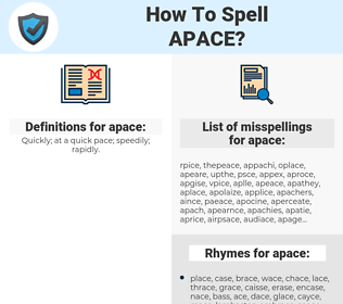 apace, spellcheck apace, how to spell apace, how do you spell apace, correct spelling for apace