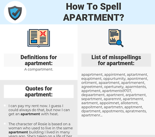apartment, spellcheck apartment, how to spell apartment, how do you spell apartment, correct spelling for apartment