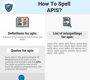 apis, spellcheck apis, how to spell apis, how do you spell apis, correct spelling for apis