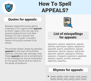 appeals, spellcheck appeals, how to spell appeals, how do you spell appeals, correct spelling for appeals