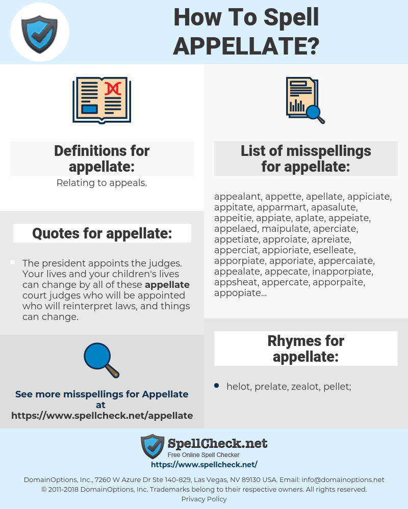 appellate, spellcheck appellate, how to spell appellate, how do you spell appellate, correct spelling for appellate
