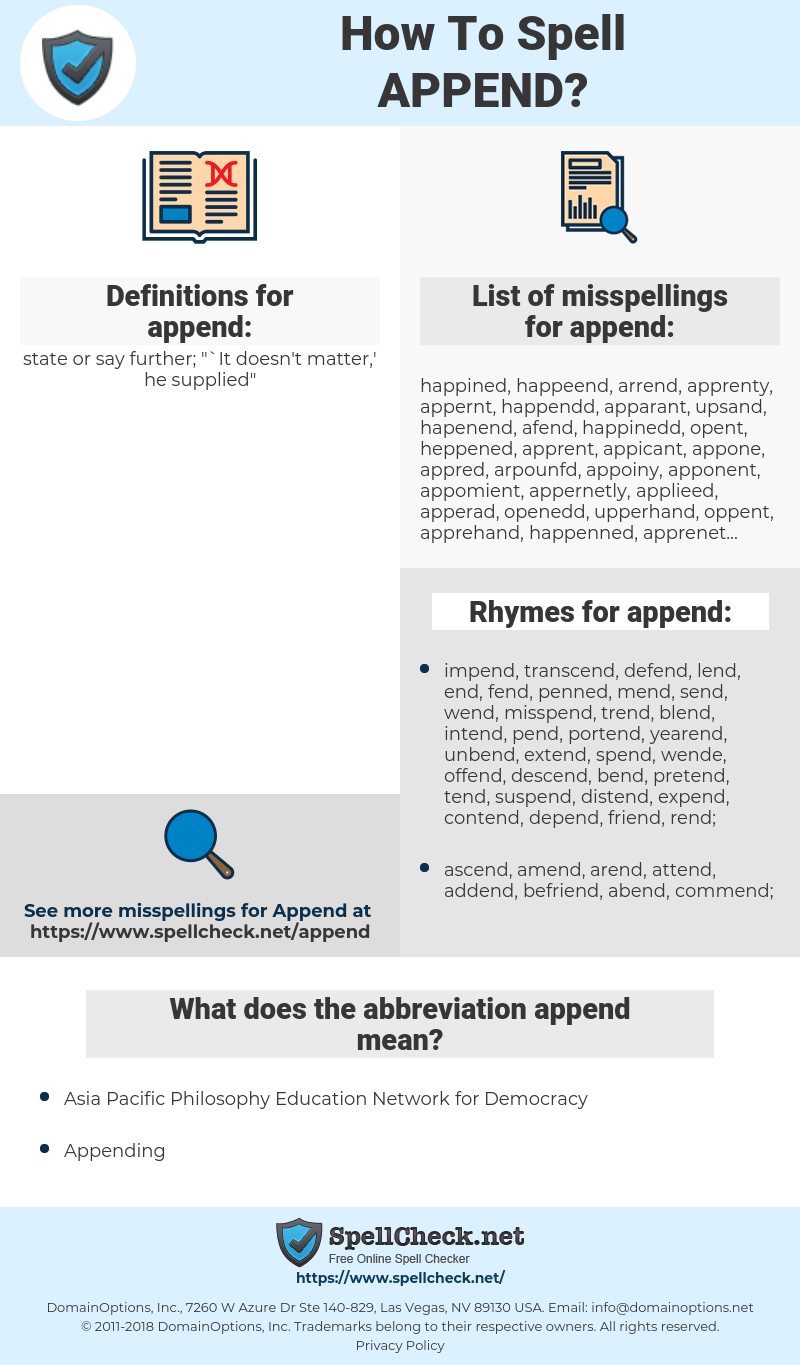 append, spellcheck append, how to spell append, how do you spell append, correct spelling for append