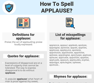 applause, spellcheck applause, how to spell applause, how do you spell applause, correct spelling for applause