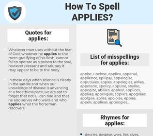 applies, spellcheck applies, how to spell applies, how do you spell applies, correct spelling for applies