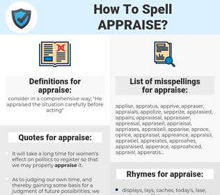 appraise, spellcheck appraise, how to spell appraise, how do you spell appraise, correct spelling for appraise