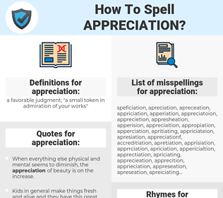 appreciation, spellcheck appreciation, how to spell appreciation, how do you spell appreciation, correct spelling for appreciation