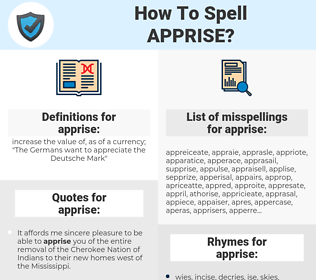 apprise, spellcheck apprise, how to spell apprise, how do you spell apprise, correct spelling for apprise