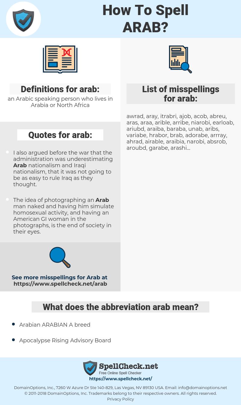 arab, spellcheck arab, how to spell arab, how do you spell arab, correct spelling for arab