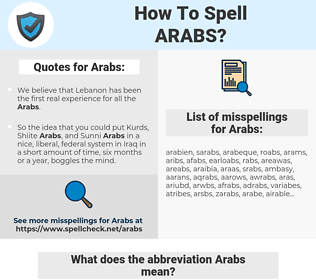 Arabs, spellcheck Arabs, how to spell Arabs, how do you spell Arabs, correct spelling for Arabs