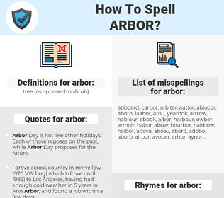arbor, spellcheck arbor, how to spell arbor, how do you spell arbor, correct spelling for arbor