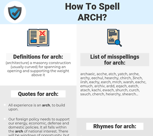 arch, spellcheck arch, how to spell arch, how do you spell arch, correct spelling for arch