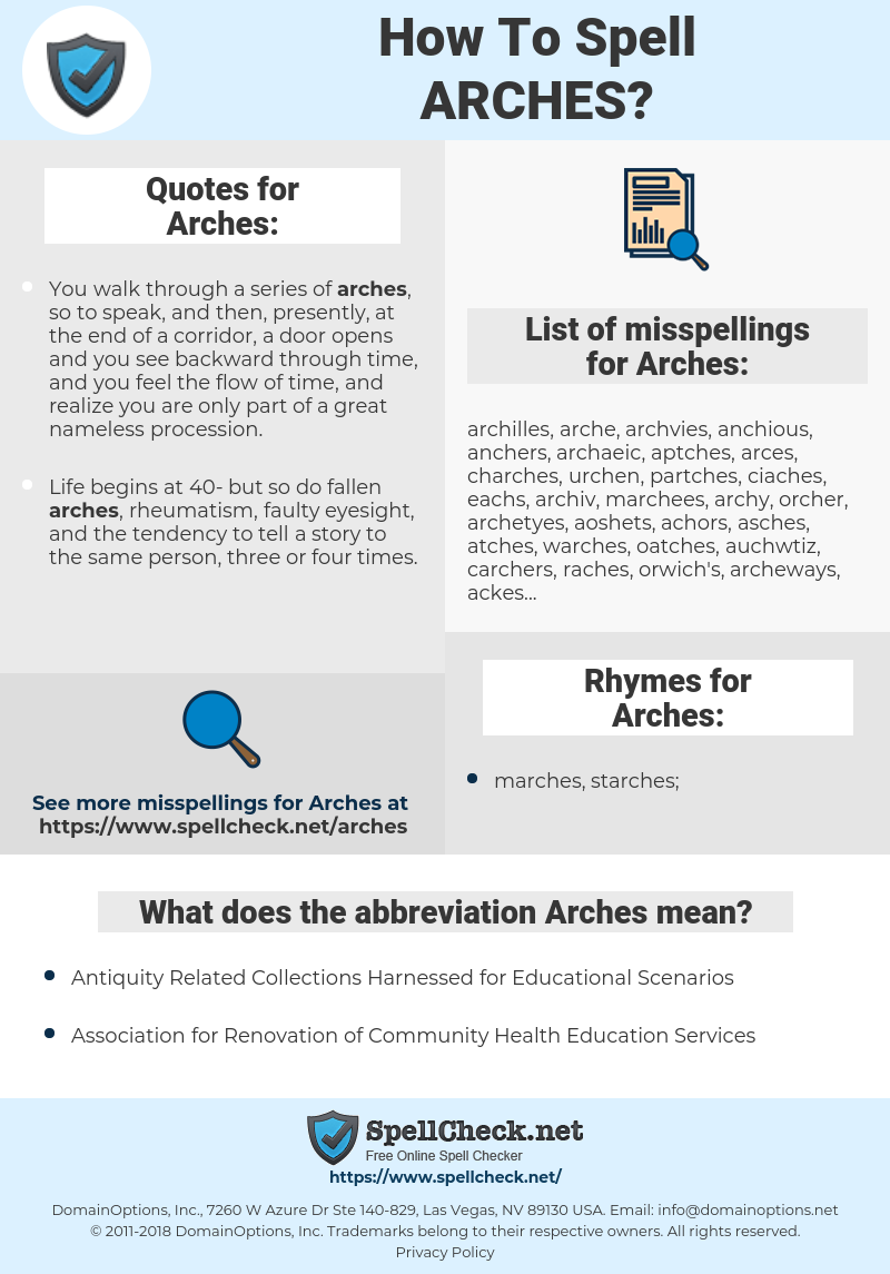 Arches, spellcheck Arches, how to spell Arches, how do you spell Arches, correct spelling for Arches