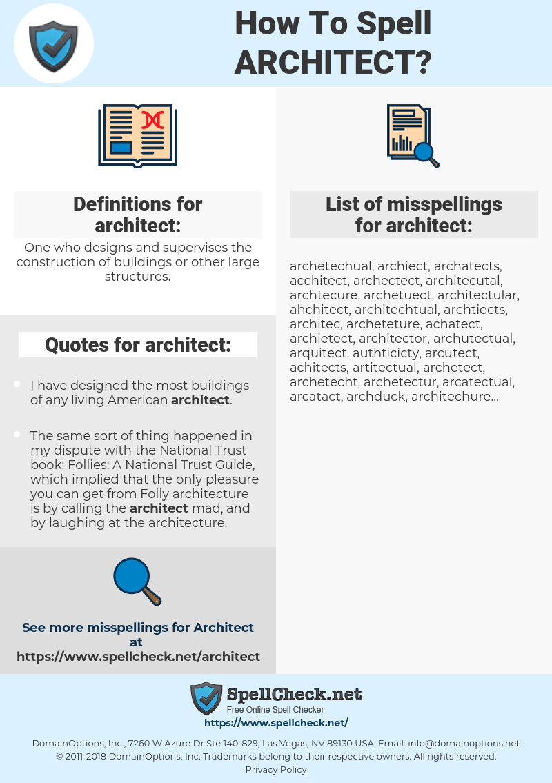 architect, spellcheck architect, how to spell architect, how do you spell architect, correct spelling for architect