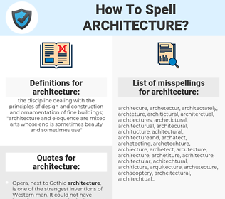 architecture, spellcheck architecture, how to spell architecture, how do you spell architecture, correct spelling for architecture