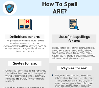 are, spellcheck are, how to spell are, how do you spell are, correct spelling for are
