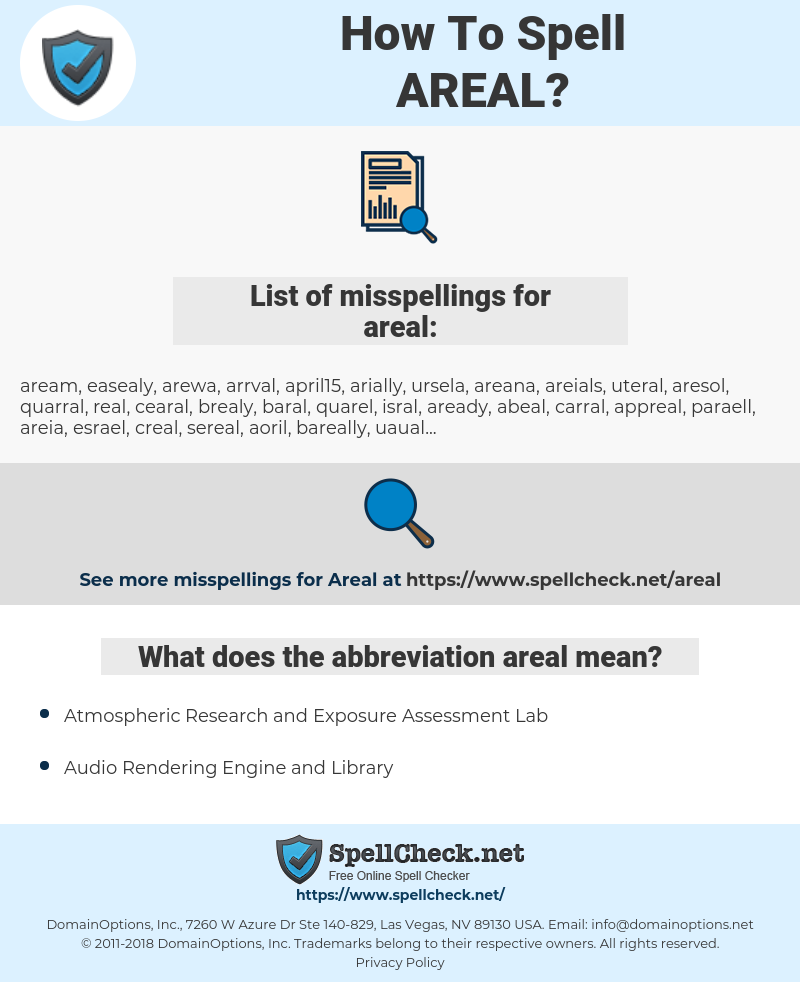 areal, spellcheck areal, how to spell areal, how do you spell areal, correct spelling for areal